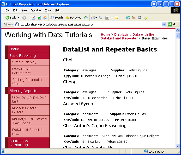 Displaying Data with the DataList and Repeater Controls (C ...