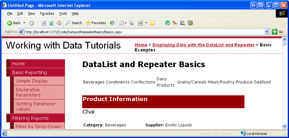 Displaying Data with the DataList and Repeater Controls (C