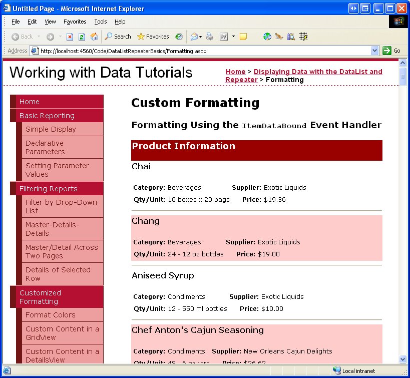 Formatting the DataList and Repeater Based Upon Data (VB ...