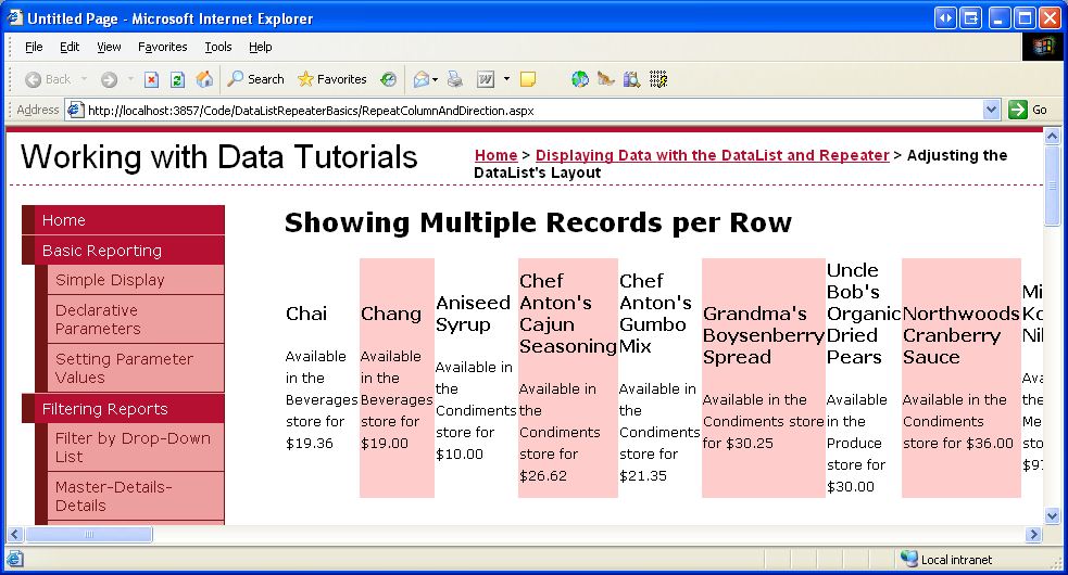 Showing Multiple Records per Row with the DataList Control (C