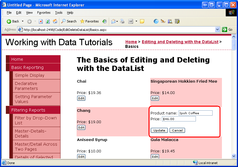 An Overview of Editing and Deleting Data in the DataList (VB