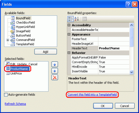 Add data manually to gridview control