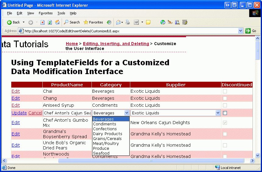 Customizing the Data Modification Interface (VB) | Microsoft