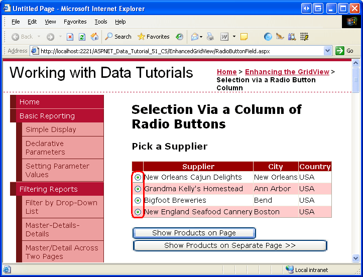 Adding a GridView Column of Radio Buttons (C#) | Microsoft Docs