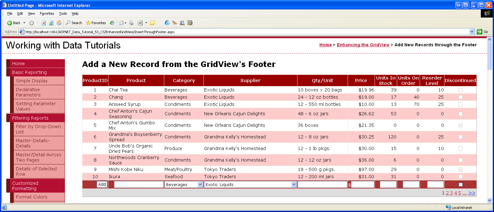inserting a new record from the gridview 39 s footer c