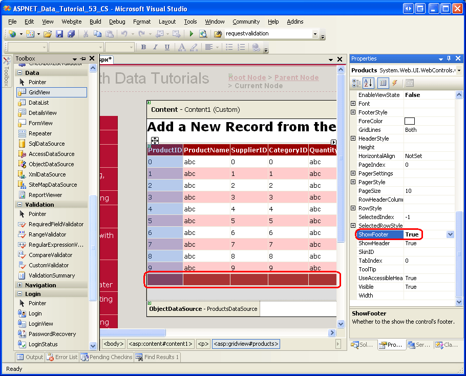 Inserting a New Record from the GridView's Footer (C#) | Microsoft Docs