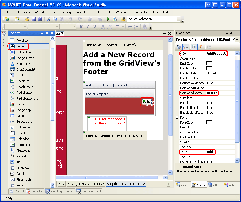 Inserting a New Record from the GridView's Footer (C