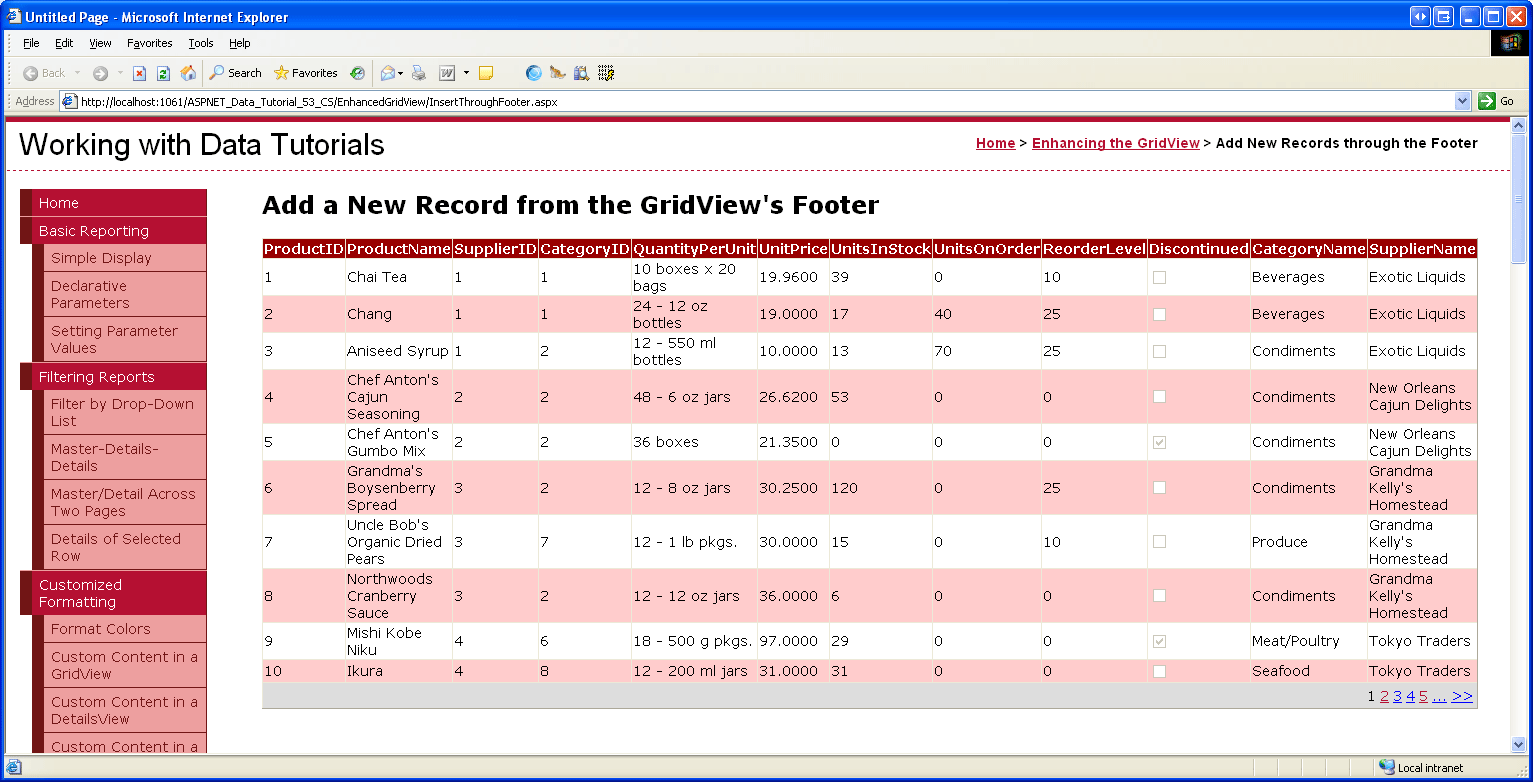 grid view templates in asp net - inserting a new record from the gridview 39 s footer c