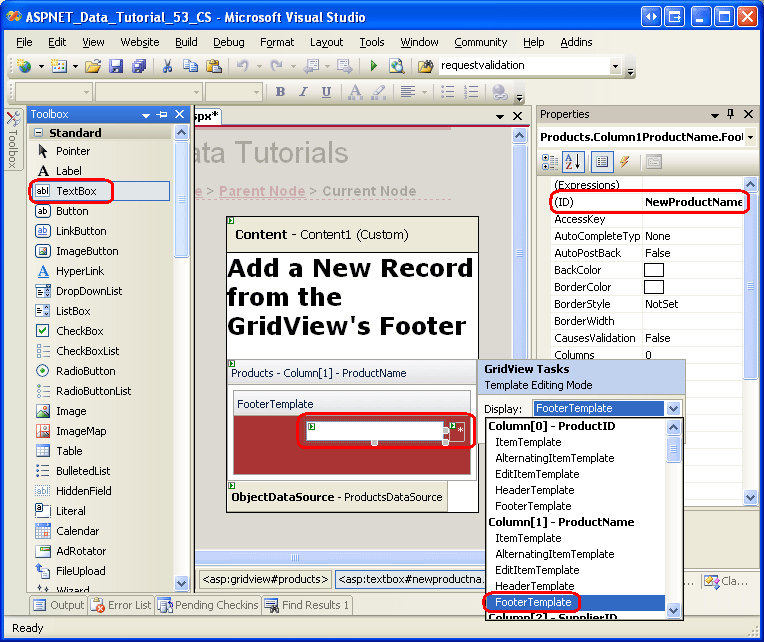 Inserting a New Record from the GridView's Footer (VB
