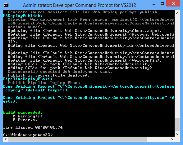 ASP NET Web Deployment using Visual Studio: Command Line