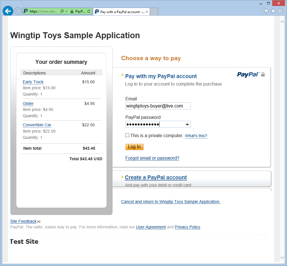 Checkout and Payment with PayPal | Microsoft Docs