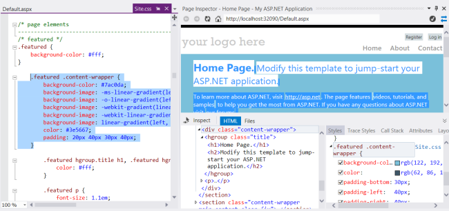 Using Page Inspector For Visual Studio 2012 In Asp Net Web Forms Background Colors For Web Pages