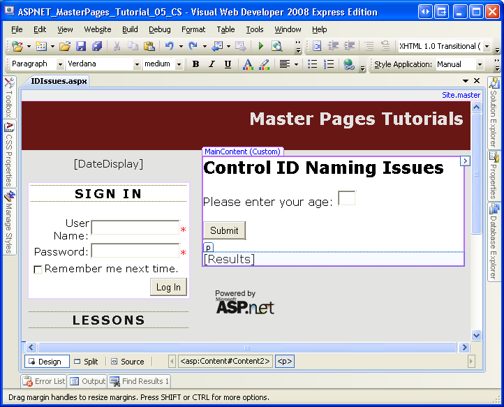 Control ID Naming in Content Pages (VB) | Microsoft Docs