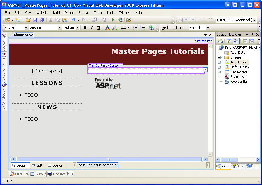 Creating a site wide layout using master pages c microsoft docs the content pages design view displays both the page specific and master page contents pronofoot35fo Gallery