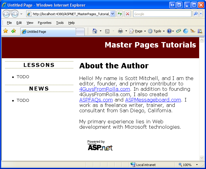 Creating a Site-Wide Layout Using Master Pages (C#) | Microsoft Docs