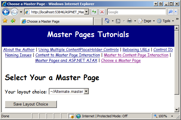 Specifying the master page programmatically c microsoft docs content pages are now displayed using the alternatester master page pronofoot35fo Gallery