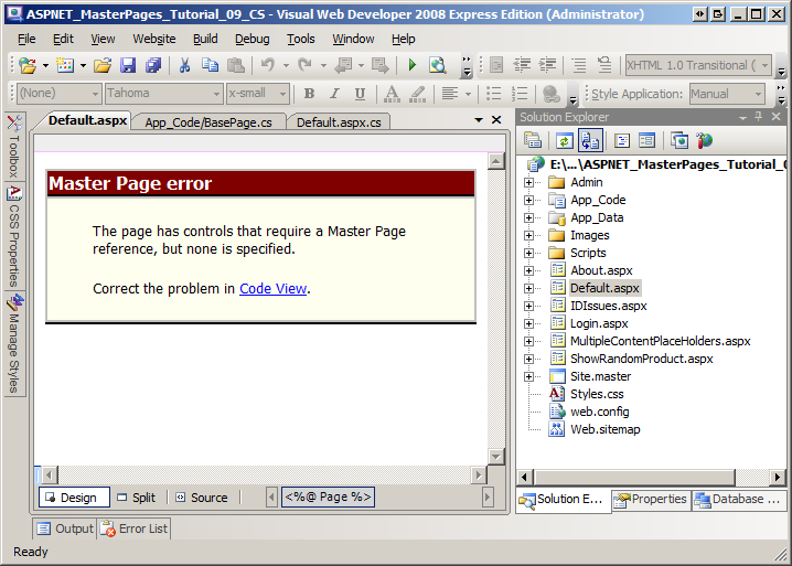 Visual Studio Uses The Page Directives MasterPageFile Attribute To Render Design View