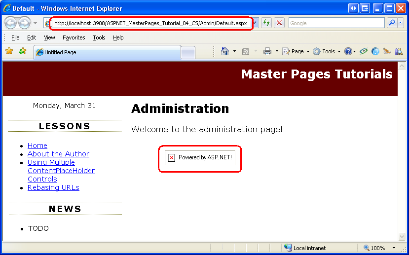 urls in master pages c microsoft docs