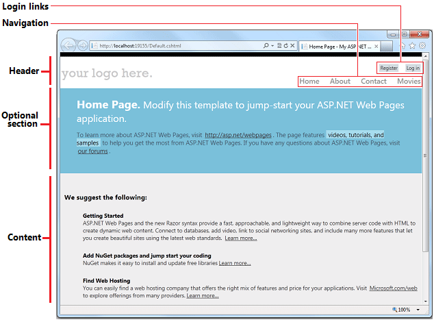 Introducing ASP NET Web Pages - Creating a Consistent Layout