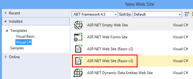 How to create a razor c web pages site in vs2017 the for Asp net menu templates