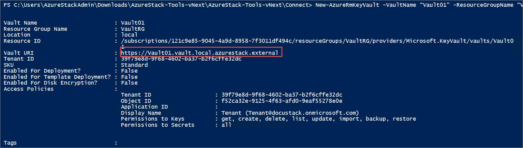 Manage Key Vault in Azure Stack using PowerShell | Microsoft