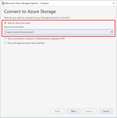 Connect Storage Explorer to an Azure Stack subscription or a