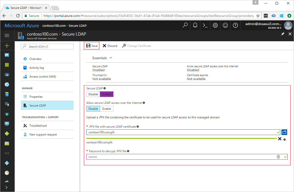 Enable Secure LDAP (LDAPS) in Azure AD Domain Services | Microsoft Docs
