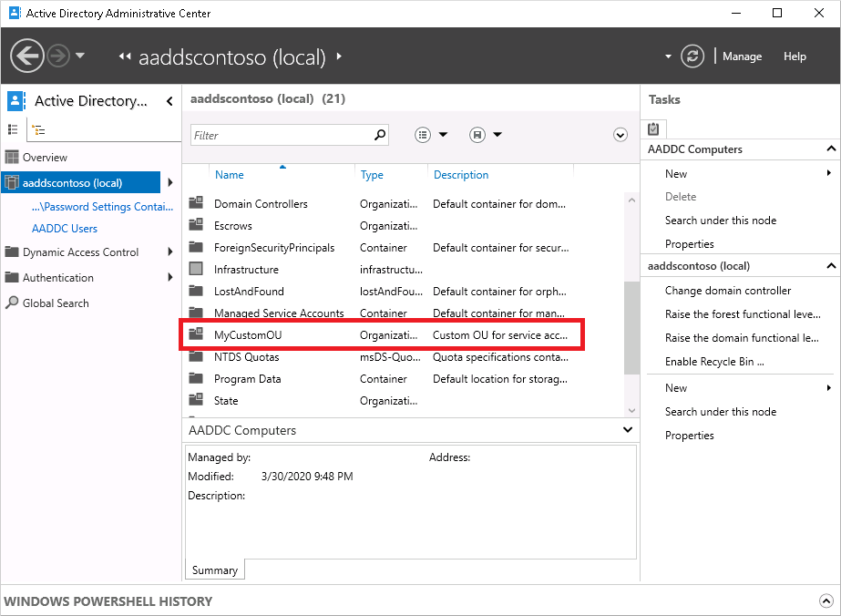 Create an organizational unit (OU) in Azure AD Domain Services | Microsoft  Docs