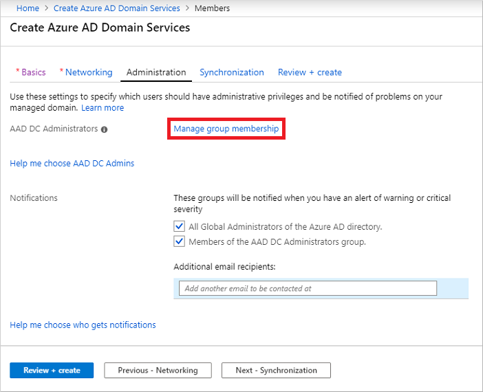 Configure group membership of the AAD DC Administrators group