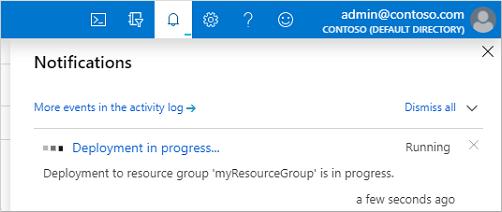 Notification in the Azure portal of the deployment in progress