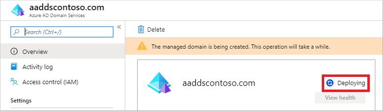Domain Services status during the provisioning state