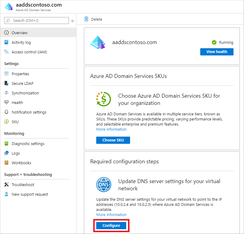 Configure DNS settings for your virtual network with the Azure AD Domain Services IP addresses