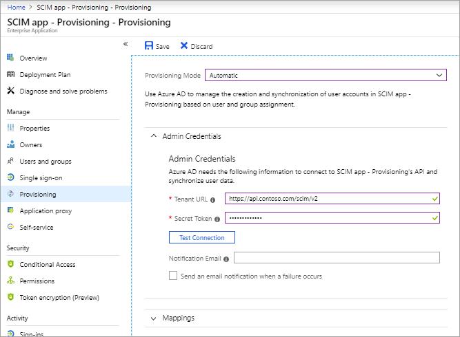Example: An app's Provisioning page in the Azure portal