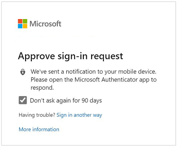 Screenshot of example prompt to approve a sign-in request