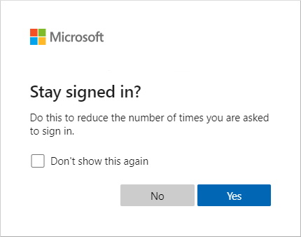 Screenshot of example prompt to remain signed in