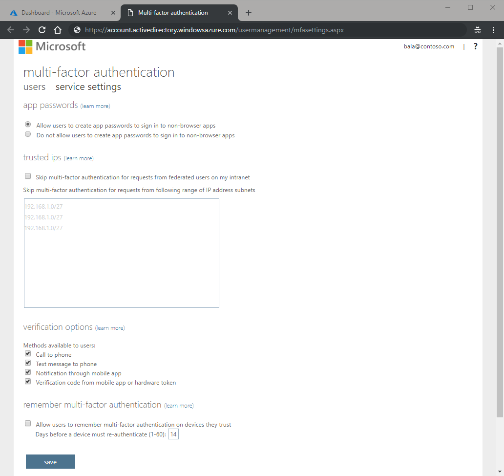 Configure Azure Multi-Factor Authentication - Azure Active