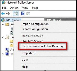Register server in Active Directory menu option
