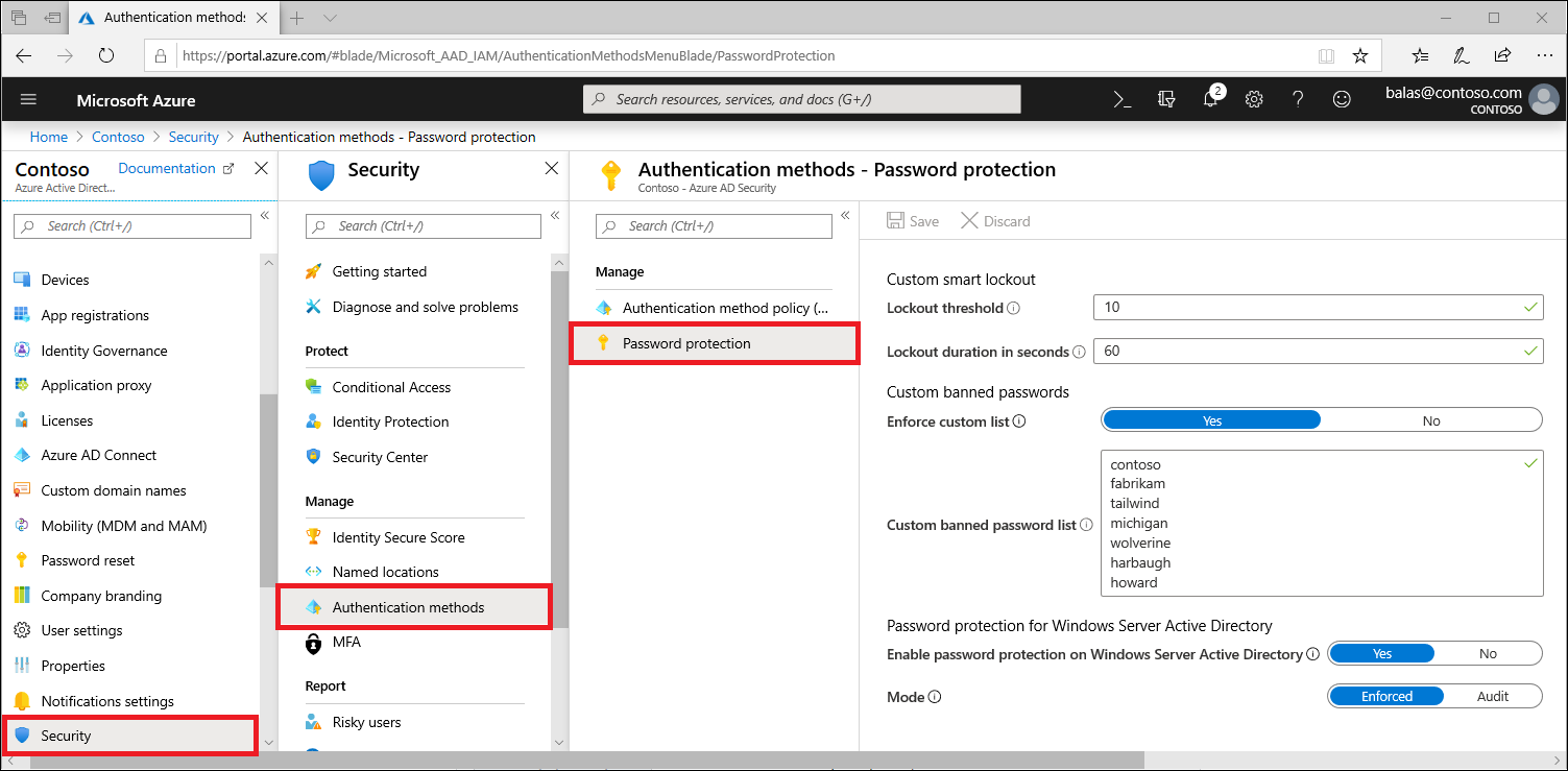 Modify the custom banned password list under Authentication Methods in the Azure portal