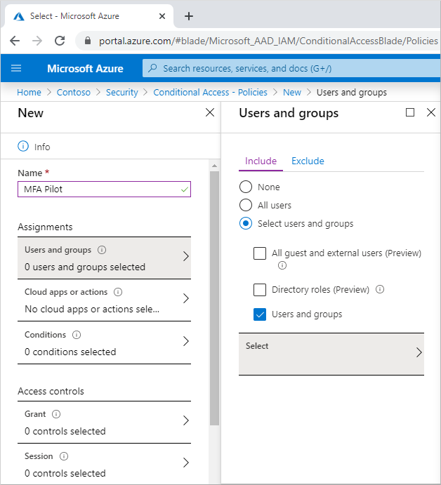 Select your Azure AD group to use with the Conditional Access policy