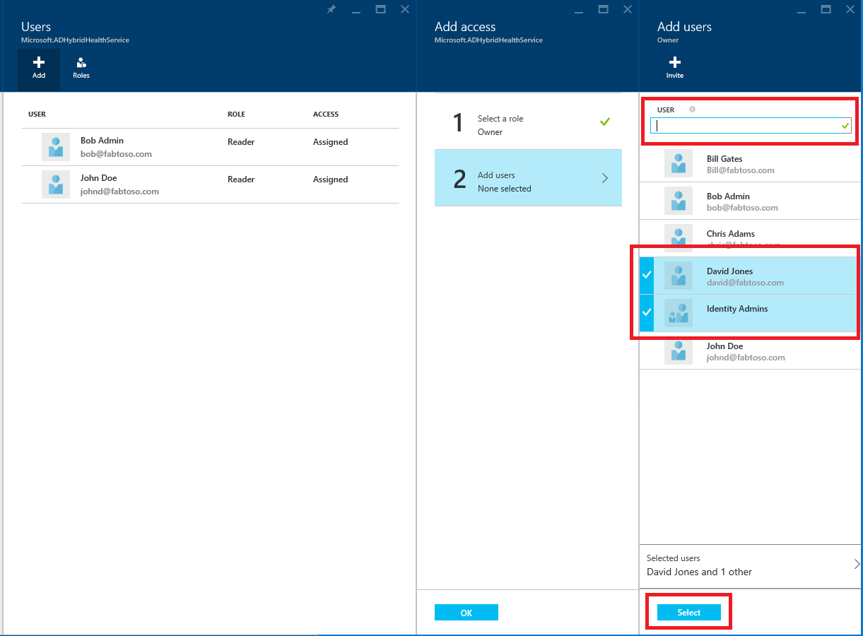 How to add a user in azure - Screenshot Of Azure Ad Connect Health Rbac Users Window