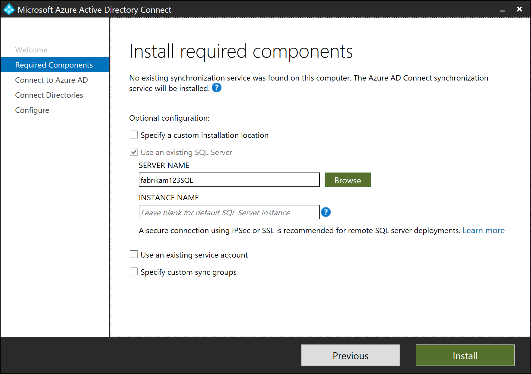 Install Azure AD Connect by using an existing ADSync database ...