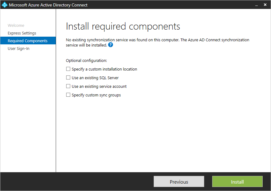 Azure ad connect custom installation microsoft docs custom settings installation of azure ad connect fandeluxe Image collections