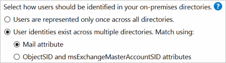 Option for using the mail attribute for matching when user identities exist across multiple directories
