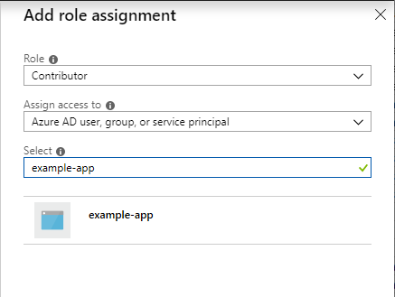 Select the role to assign to the application