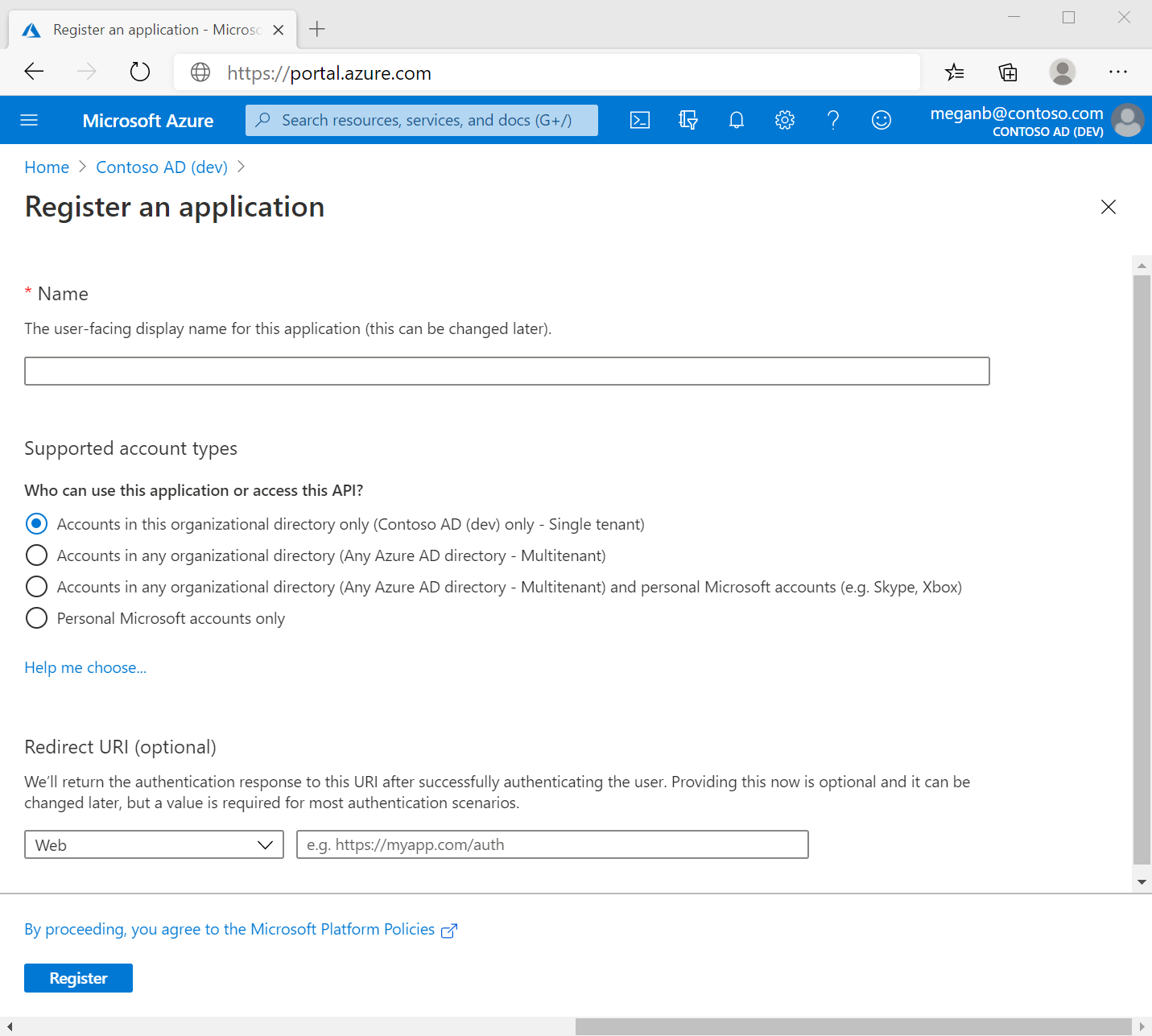 Screenshot of the Azure portal in a web browser, showing the Register an application pane.