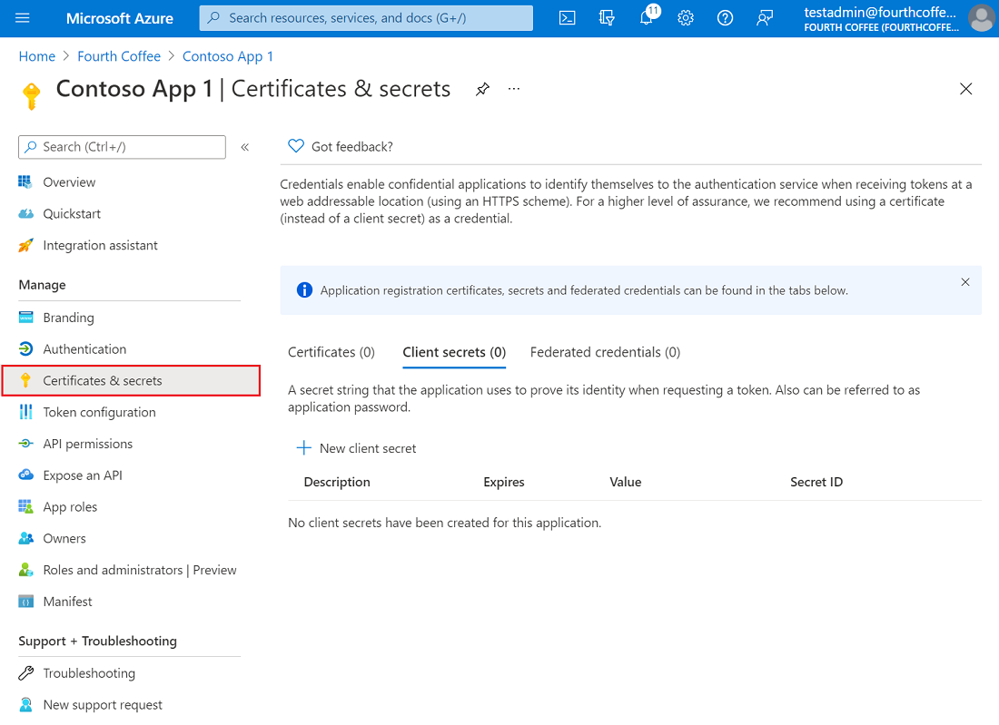 Screenshot of the Azure portal, showing the Certificates and secrets pane in an app registration.
