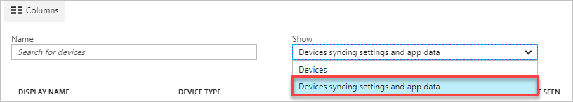 image of device sync data setting