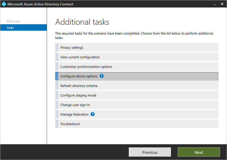 Azure AD Connect Additional Tasks