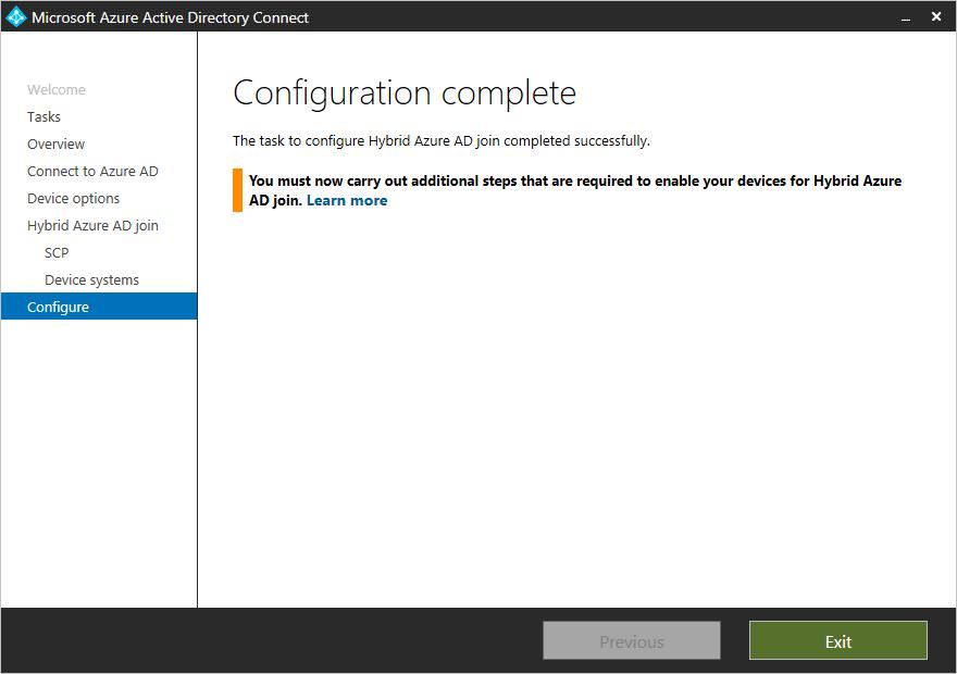 Configuration complete