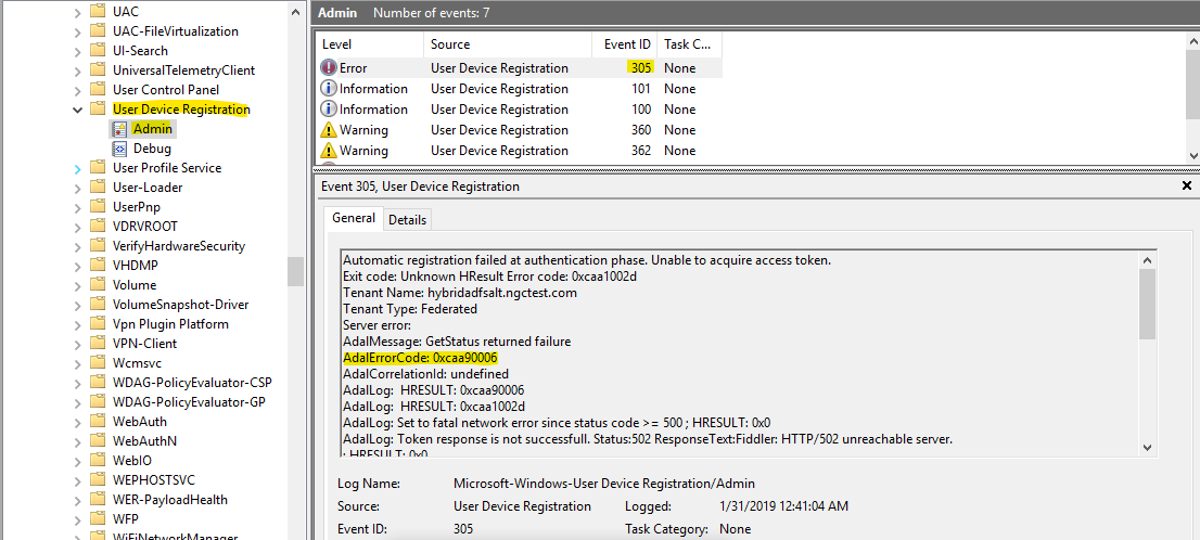 Troubleshooting hybrid Azure Active Directory joined devices - Azure